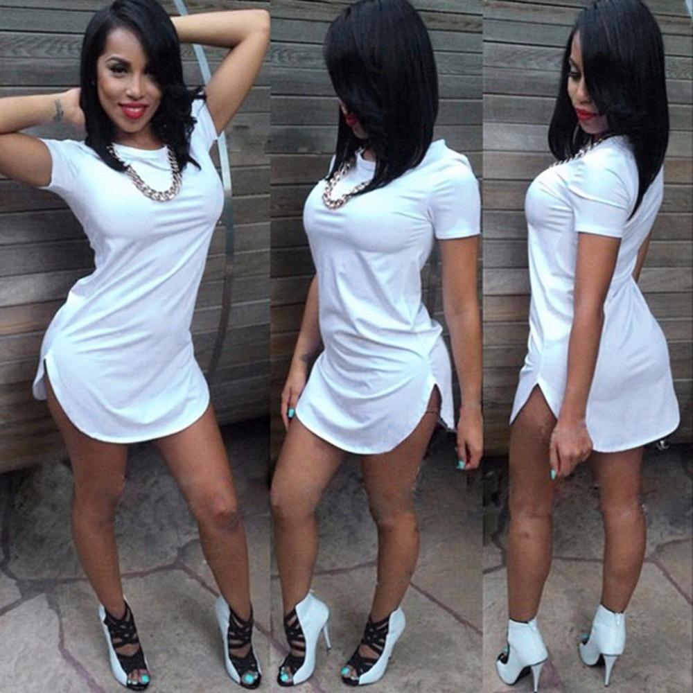 Vestido Feminino Recorte Lateral Roupa Swag Longline T-shirt - R  24 ... c167d857ec5