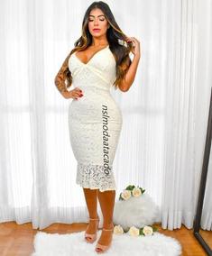 4dc64102f Vestido Feminino Rendado Mid Semi-seria Colado Social Festas