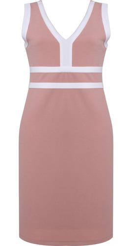vestido feminino social tubinho decote v bicolor seiki 38036