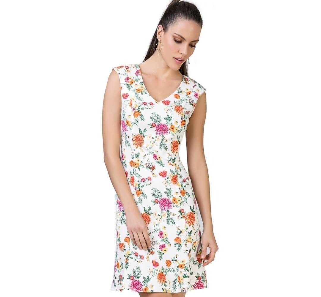 df0c0635f vestido feminino social tubinho malha crepe estampa floral g. Carregando  zoom.