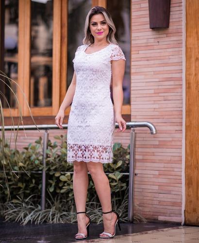 vestido feminino tubinho midi festa renda moda evangélica