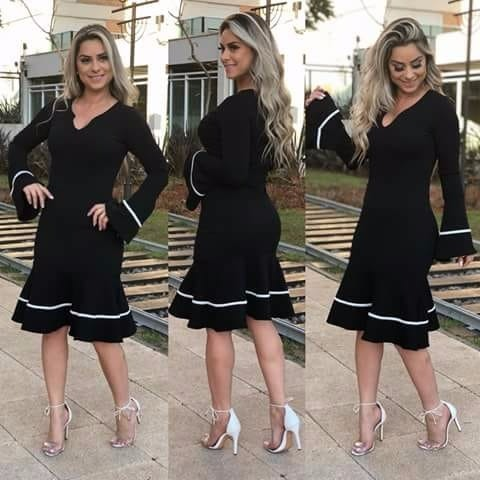 fe987ec9ba Vestido Feminino Tubinho Midi Moda Evangélica Social Festa - R  64 ...