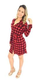 2a5afc93db5f65 Vestido Feminino Xadrez Laço Camisão Moda Instagram Chemise