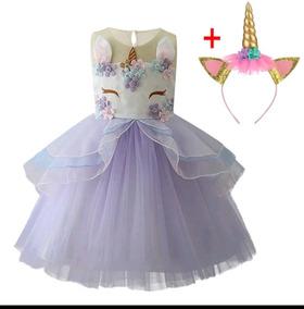 c0ebc1a29b07fc Vestido Festa Aniversario Unicornio Tiara Rosa /azul Lindo!!