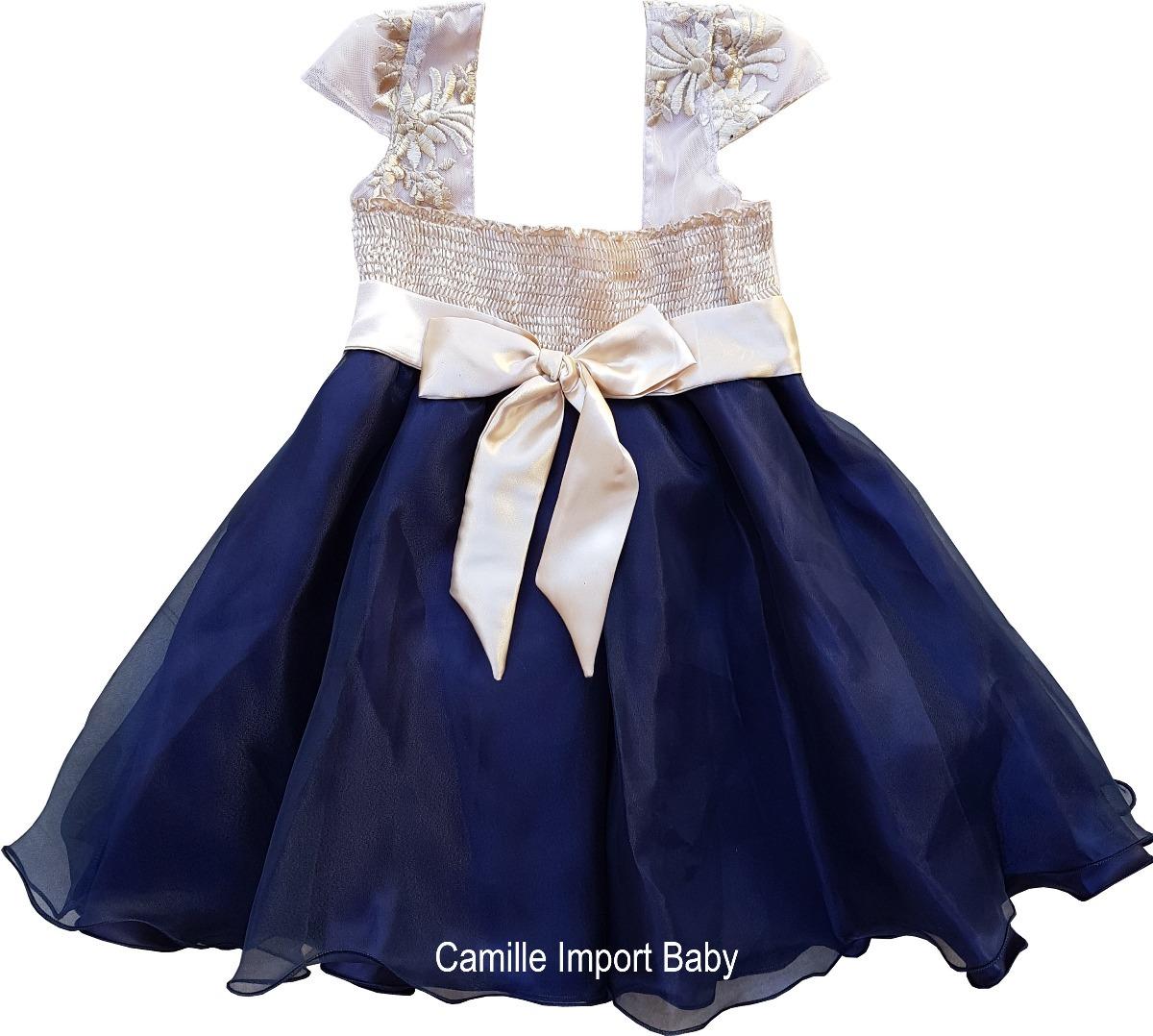 Vestido de festa azul marinho e dourado
