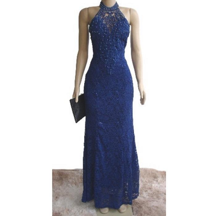 f666397659 Vestido Festa Azul Royal Madrinha Casamento Civil Gola Bojo - R  210 ...