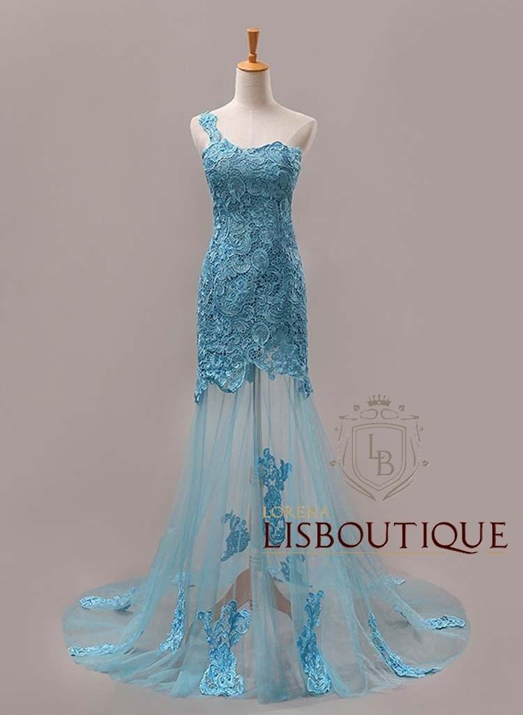 Vestido de madrinha azul tiffany renda