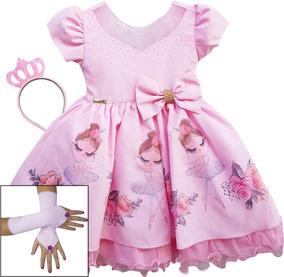 283ff54d09 Vestido Festa Infantil Bailarina Rosa - Vestidos Meninas De Festa no  Mercado Livre Brasil