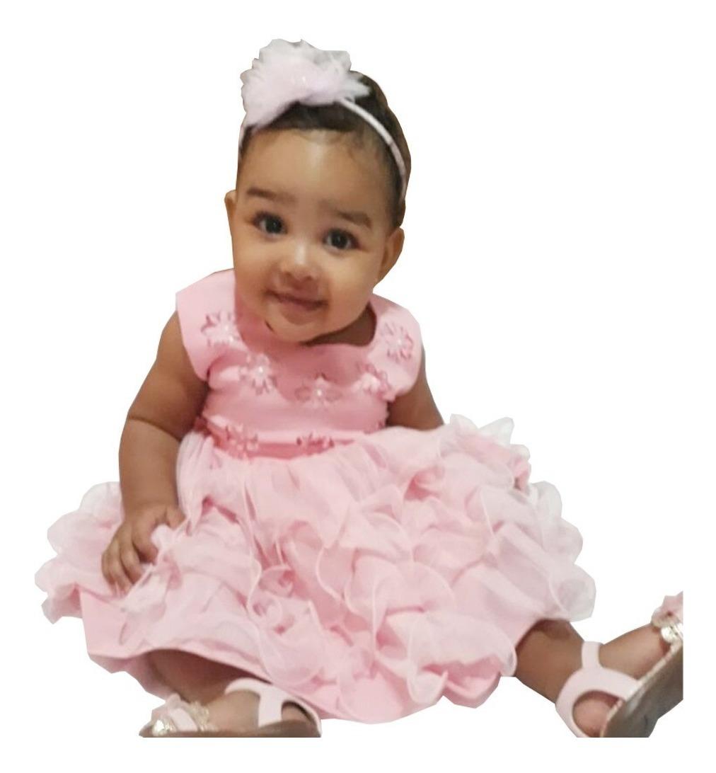 32bee7c62 Vestido Festa Bebe Rosa Infantil Menina Luxo Com Tiara - R$ 99,99 em ...