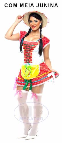 vestido festa caipira adulto quadrilha junino + meia junina