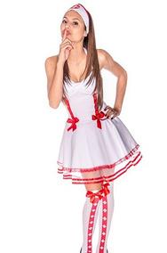 1100f485a Vestido Festa Carnaval Fantasia Enfermeira Sexy Adulto