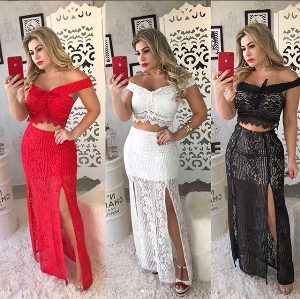 57f9a4dd8a Vestido Festa Casamento Conjunto Cropped Saia Longa Ombro - R  139 ...