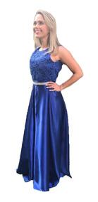 c86cb8bd4f750 Vestido Longo Cetim Azul Royal - Vestidos Femeninos Longo com o ...
