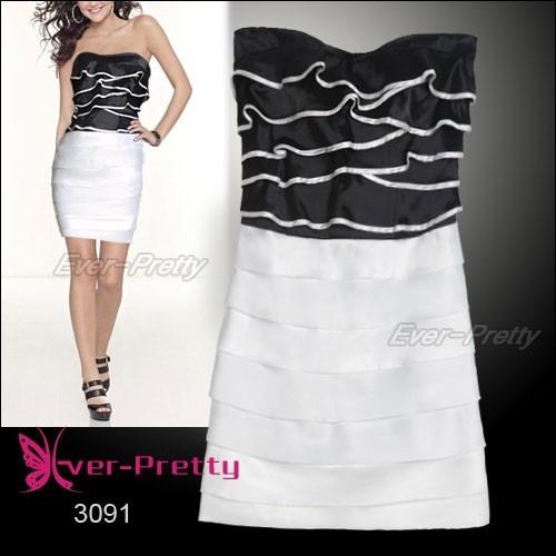vestido festa curto cetim branco preto queima estoque