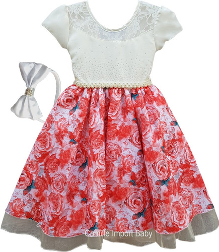 vestido festa daminha floral princesa luxo e tiara e bolero