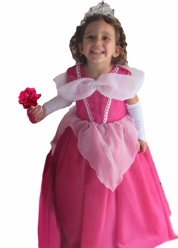 vestido festa fantasia princesa aurora bela adormecida +luva
