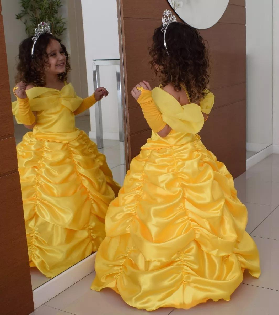 4acd71816 vestido festa fantasia princesa bela luxo infantil + luva. Carregando zoom.