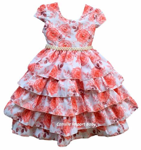 vestido festa floral luxo 4 a 12 anos e tiara e bolero