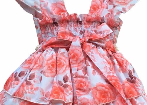 vestido festa floral luxo 4 a 16 anos e tiara e bolero