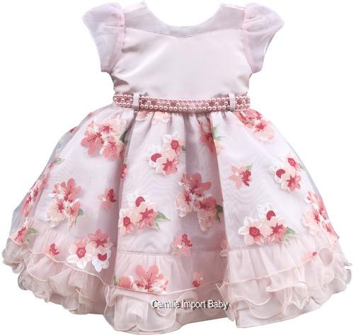 vestido festa floral luxo daminha princesa com tiara