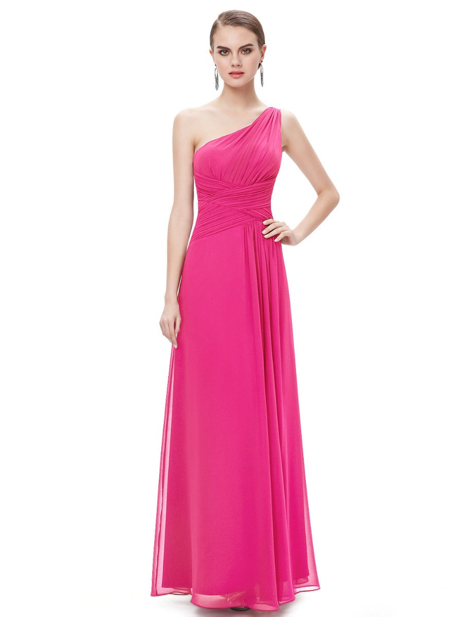 Vestido Festa Formatura Longo Pink Um Ombro - R$ 198,00 em
