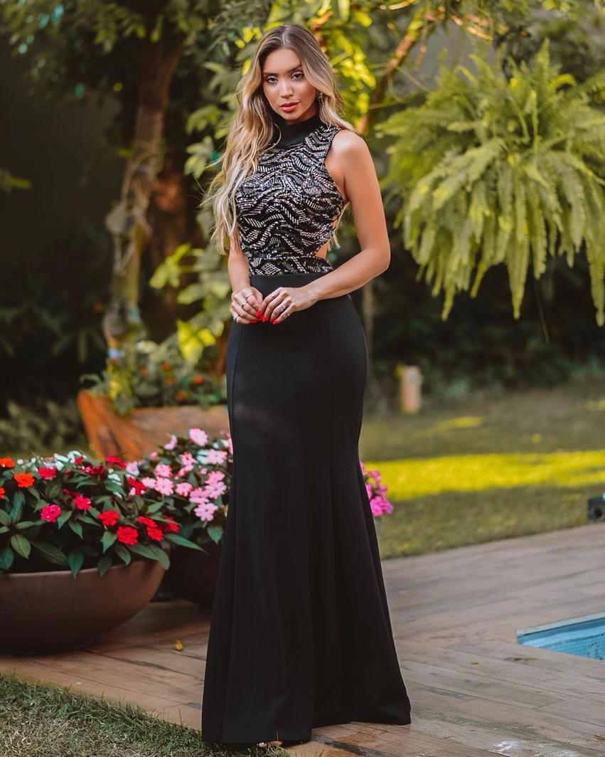 8a96006d6 vestido festa formatura preto longo semi sereia bordado #93. Carregando zoom .