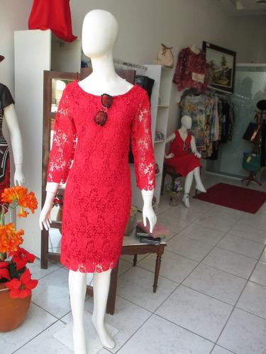 vestido festa - guipir vermelho - manga 3/4 - tam. g - $ 399