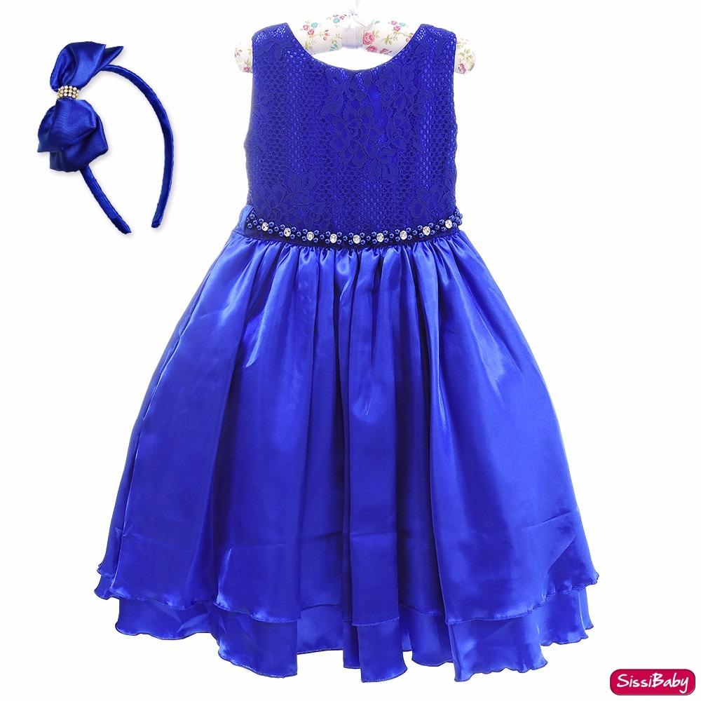 a9130838c1 vestido festa infantil chique azul moda envangélica 4 a 12. Carregando zoom.