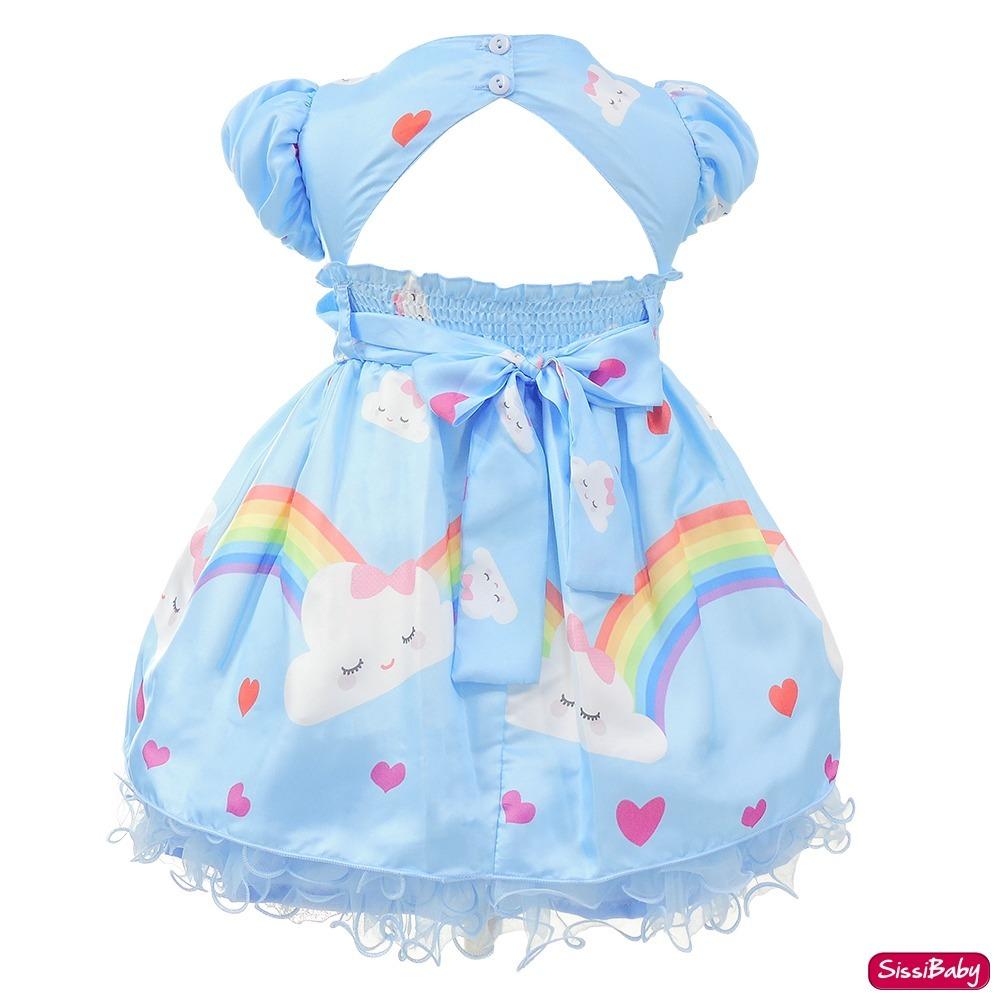 Vestido Festa Infantil Chuva De Amor Benção Nuvem E Faixa