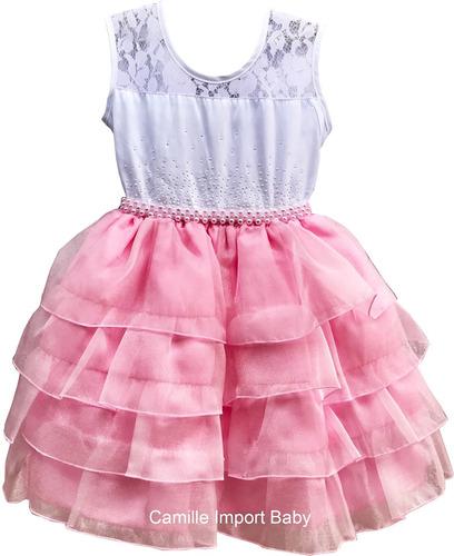 vestido festa infantil daminha floral luxo 1 a 16 anos