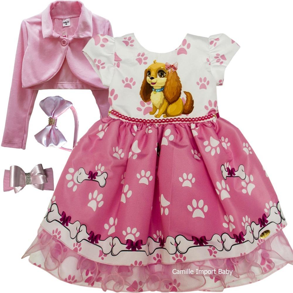 Vestido Festa Infantil Fantasia Patrulha Canina E Bolero
