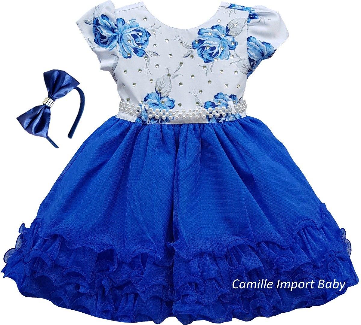 c243ba6918 vestido festa infantil floral aniversário daminha luxo tiara. Carregando  zoom.