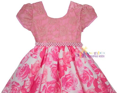 vestido festa infantil floral daminha 4 ao 16 bolero e tiara