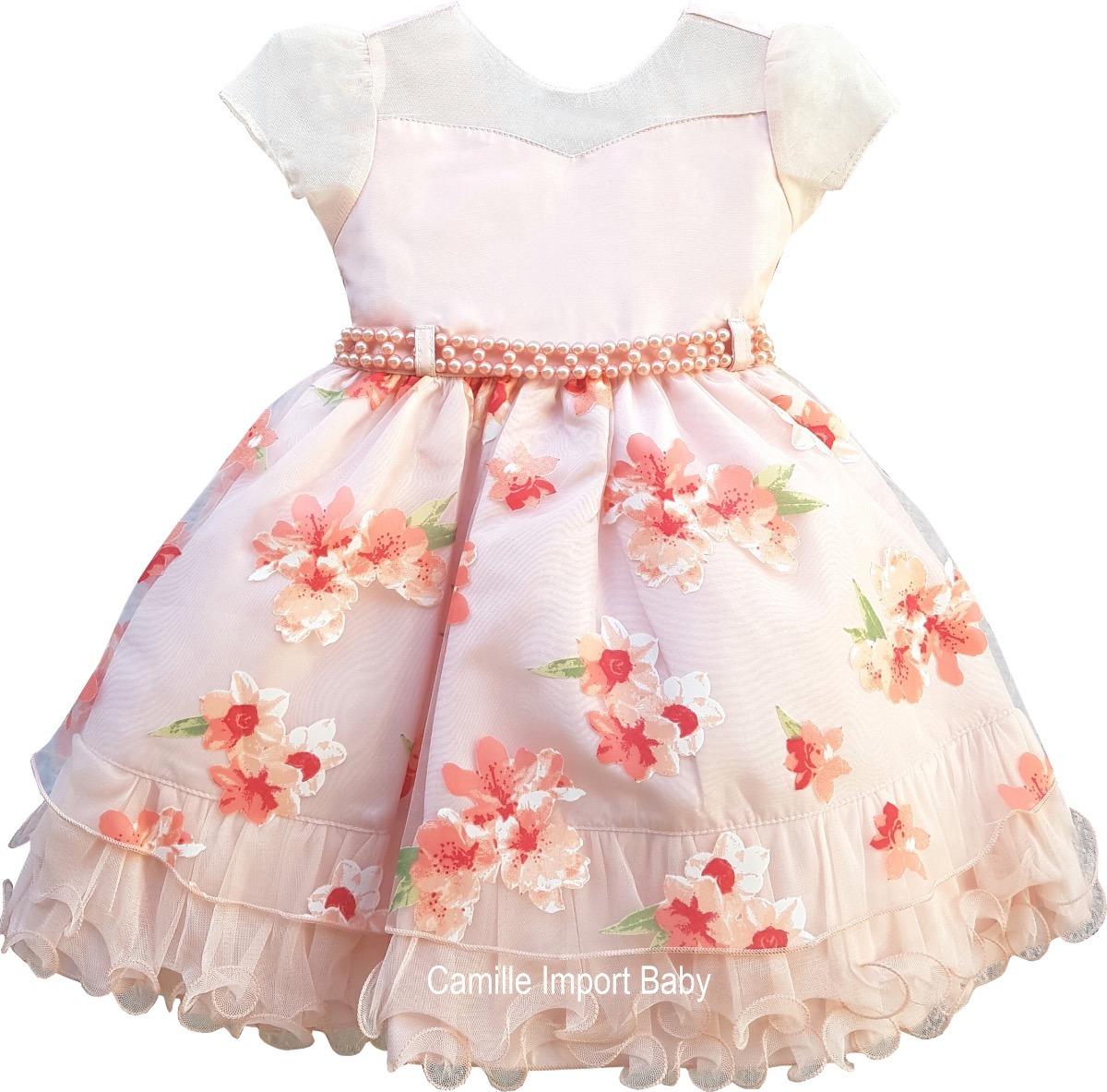 b04001d122f vestido festa infantil floral jardim encantado com tiara. Carregando zoom.