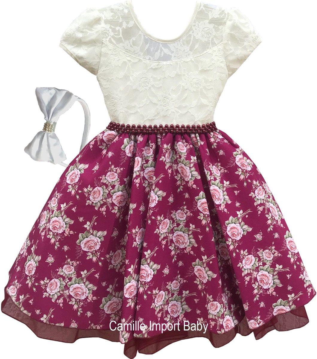 82ee16886d2 Vestido Festa Infantil Floral Luxo 1 A 16 Anos Com Tiara - R  113