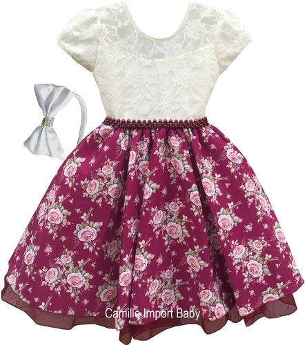 vestido festa infantil floral luxo 1 a 16 anos com tiara