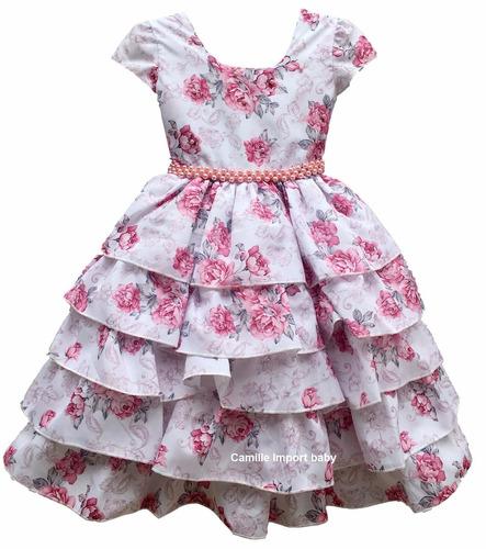 vestido festa infantil floral luxo 4 a 12 anos com tiara