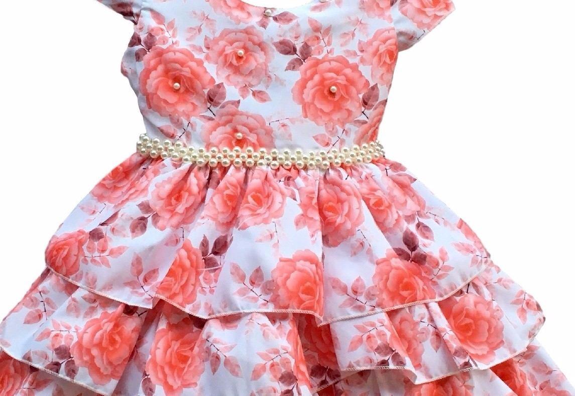 e9045d937a Vestido Festa Infantil Floral Luxo 4 A 12 Anos Com Tiara - R  80