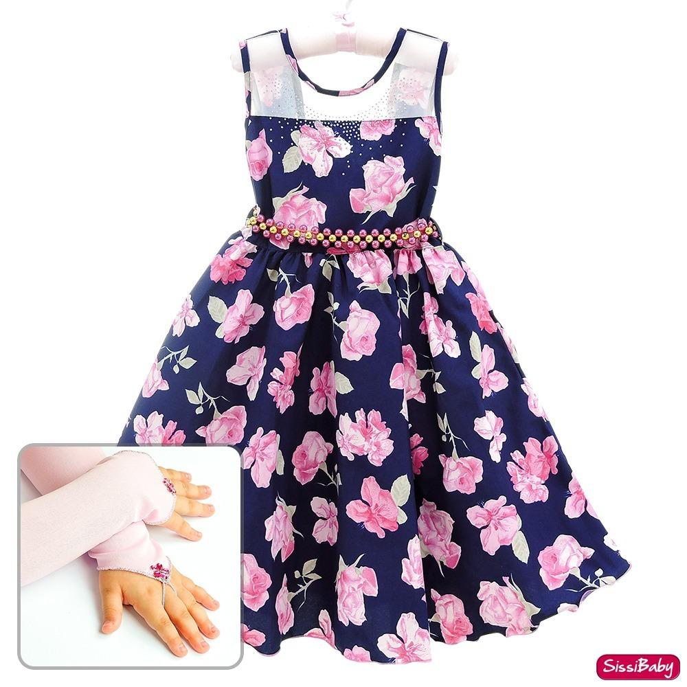45fafcd916 vestido festa infantil floral marinho princesa e luvas luxo. Carregando  zoom.
