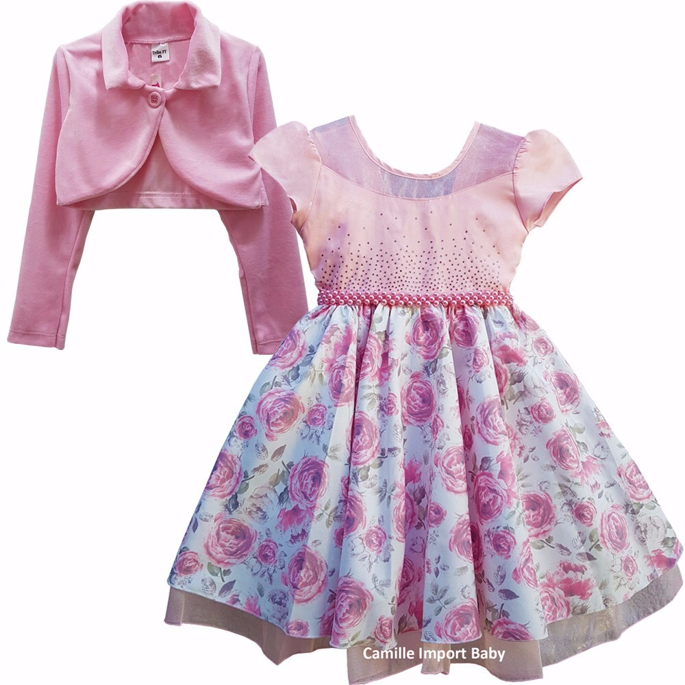 2f34386f62e vestido festa infantil floral princesa luxo e tiara e bolero. Carregando  zoom.