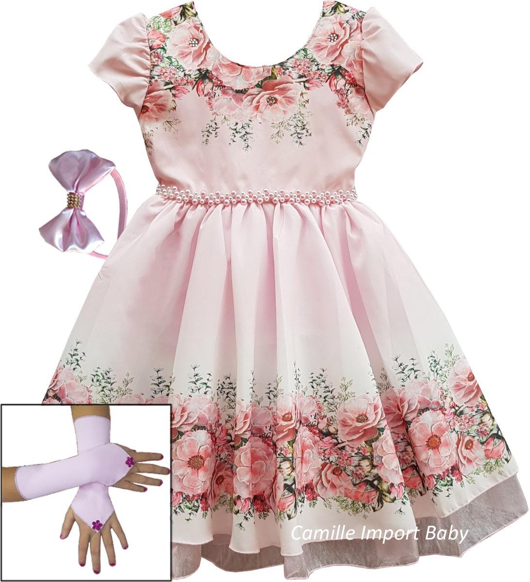 251a09709 vestido festa infantil floral rosa borboletas com tiara. Carregando zoom.