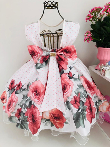 vestido festa infantil floral rosa jardim encantado e tiara