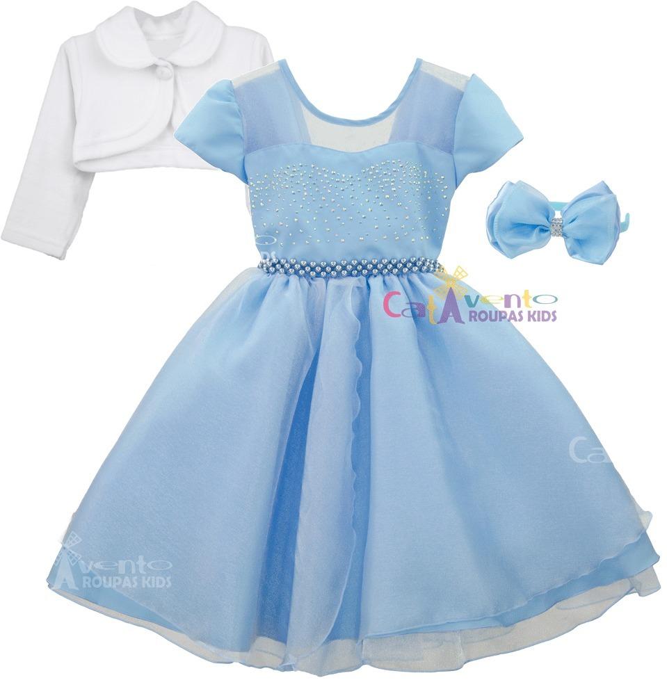 Vestido de festa infantil azul frozen