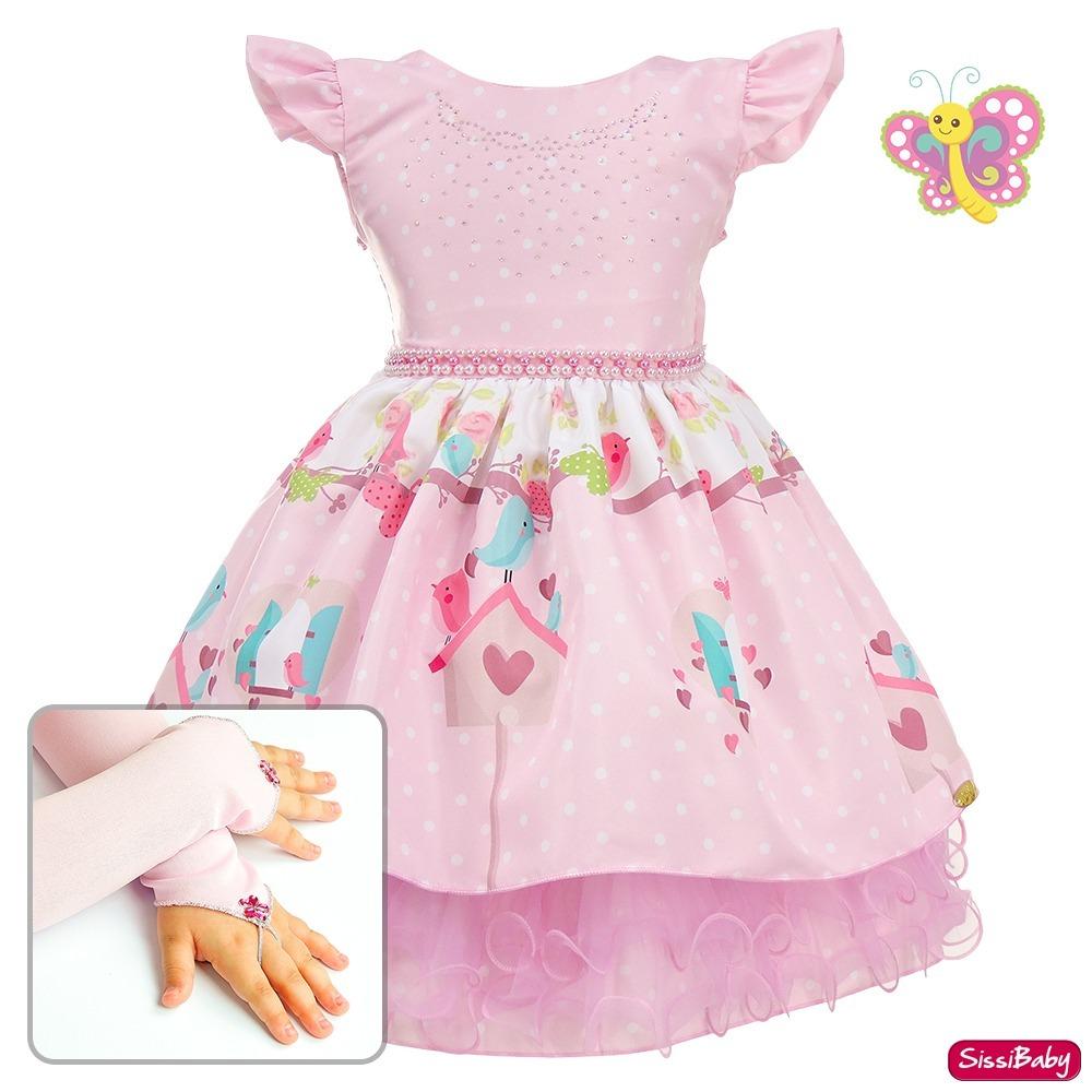 bfc0a9e9ad Vestido Festa Infantil Jardim Encantado Pássaros Com Luvas - R  119 ...