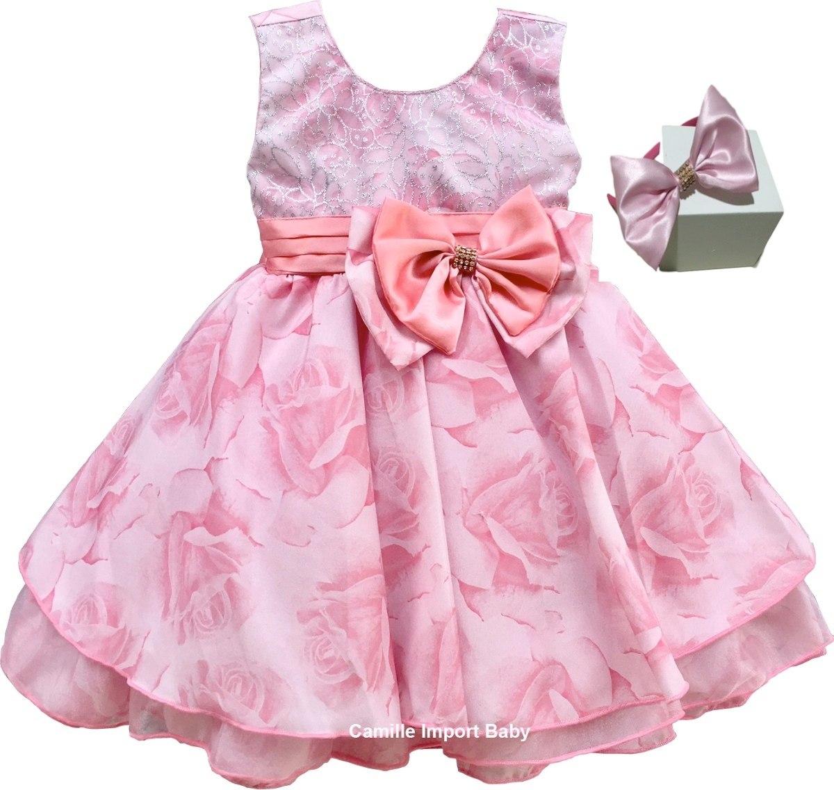 5518cceed vestido festa infantil luxo floral rosa com tiara promoção. Carregando zoom.