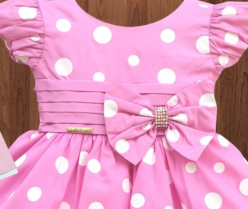 2fcb5ad728 Vestido Festa Infantil Minnie Rosa E Tiara De Strass E Faixa - R ...