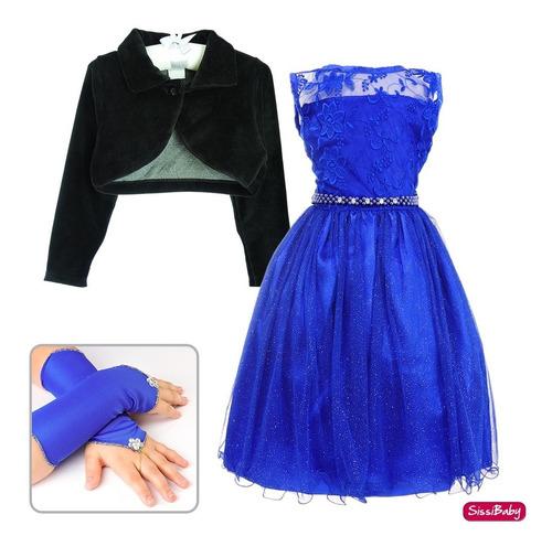 vestido festa infantil princesa daminha bolero e luva luxo