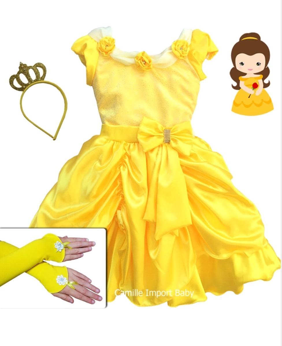 7fe7bda7afe vestido festa infantil princesa luxo a bela e a fera e coroa. Carregando  zoom.