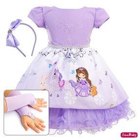 db5f96934d Vestido Festa Infantil Princesa Sofia Cute Luxo Tiara Luva