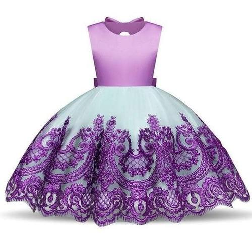 vestido festa infantil sereia ariel luxo verde roxo carnaval